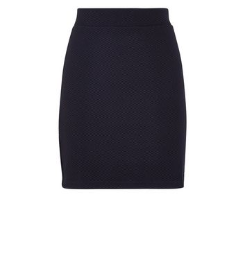 Black Textured Mini Tube Skirt New Look