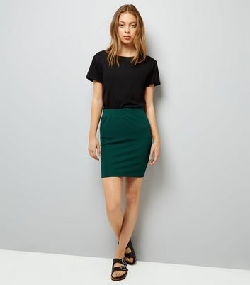 Dark Green Textured Mini Tube Skirt New Look
