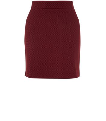 Burgundy Textured Mini Tube Skirt New Look