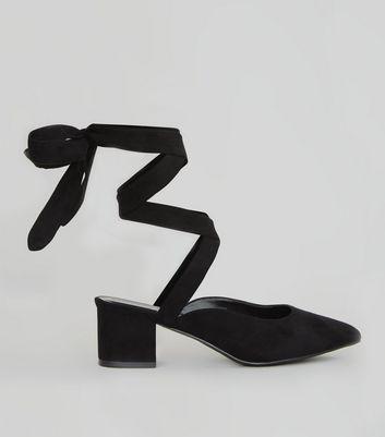 Wide Fit Black Suedette Ankle Tie Pointed Heels
