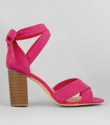 Wide Fit Pink Comfort Suedette Ankle Tie Sandals
