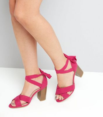 Wide Fit Pink Comfort Suedette Ankle Tie Sandals New Look