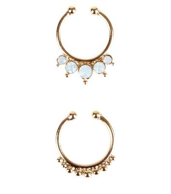 2 Pack Gold Opal Faux Septum Rings New Look
