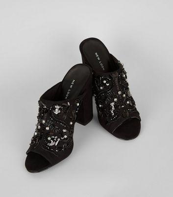 Black Suedette Embellished Block Heeled Mules New Look