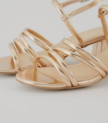 Wide Fit Rose Gold Multi Strap Low Block Heeled Sandals New Look