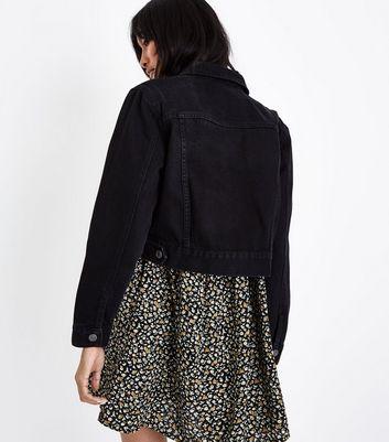 Black Stonewash Cropped Denim Jacket New Look
