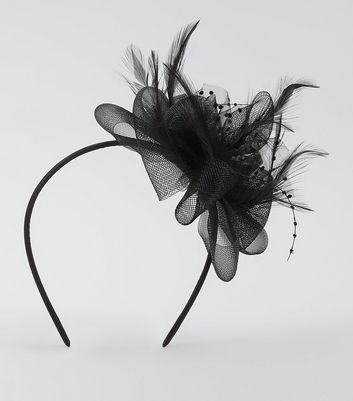 Black Net Feather Fascinator Hair Band New Look