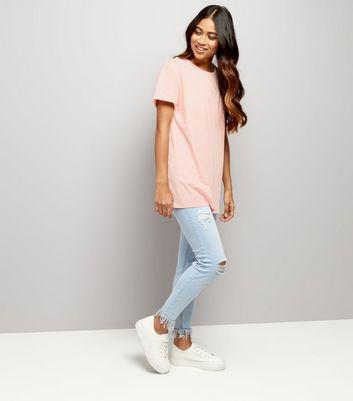 Petite Blue Frayed Hem Skinny Jenna Jeans New Look
