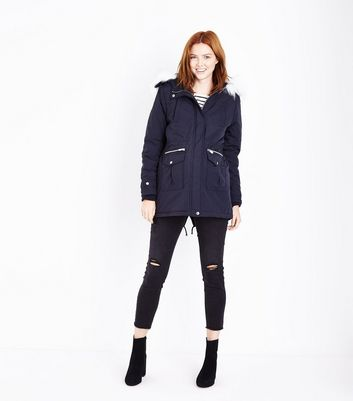 Maternity Navy Faux Fur Trim Hooded Parka New Look