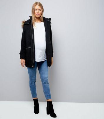 Maternity Black Faux Fur Hooded Duffle Coat New Look