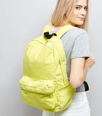 Lime Canvas Backpack New Look
