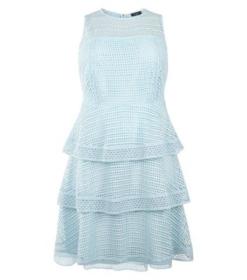 Curves Pale Blue Premium Tiered Lace Dress New Look