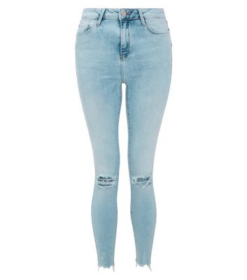Blue Ripped Knee Shaper Skinny Jeans New Look