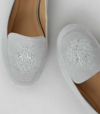 Grey Suedette Crest Embroidered Loafers New Look