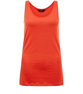 Orange Scoop Neck Vest New Look