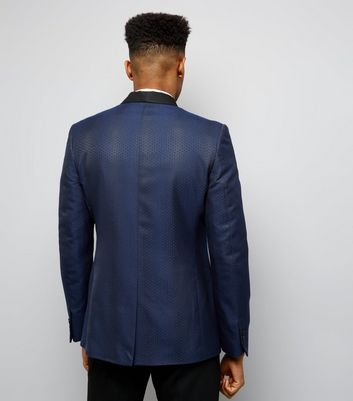 Navy Jacquard Tux Blazer New Look
