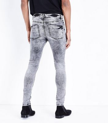 Black Acid Wash Super Skinny Jeans New Look
