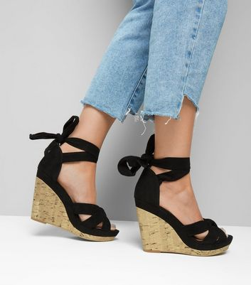 Black Suedette Tie Up Ankle Cork Wedge