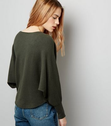 Apricot Olive Green Fine Ribbed Batwing Sleeve Jumper New Look