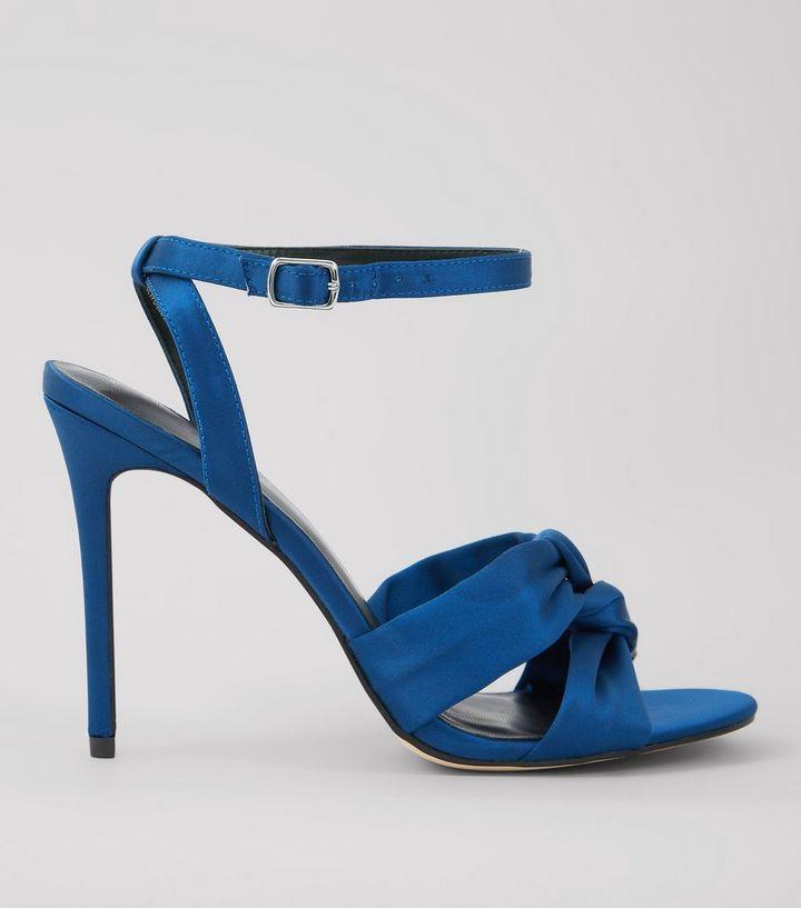 013a84fab258 Navy Satin Knot Strap Heeled Sandals