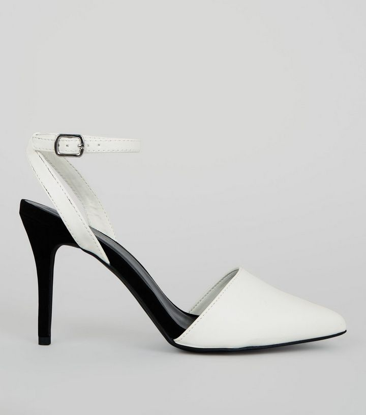 b7db43ae745 White Colour Block Pointed Ankle Strap Heels Add to Saved Items Remove from  Saved Items