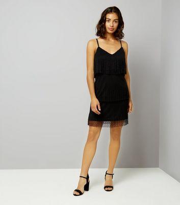 Petite Black Mesh Spot Tiered Dress New Look