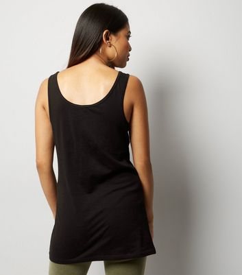 Petite Black Scoop Neck Vest New Look