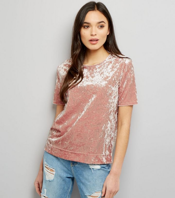 cae62298ef Tall Pink Crushed Velvet T-Shirt | New Look