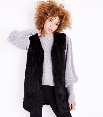 Tall Black Faux Fur Gilet New Look