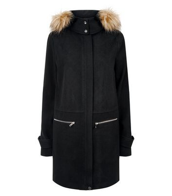 Tall Black Faux Fur Trim Duffle Coat New Look
