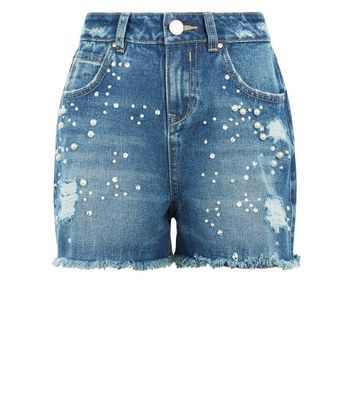 Teens Blue Pearl Embellished Denim Shorts New Look