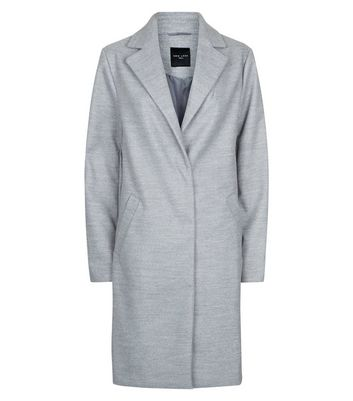 Tall Grey Longline Collared Coat New Look