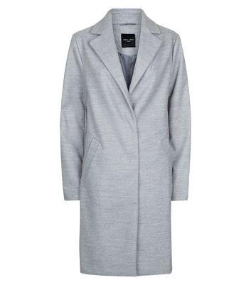 Tall Grey Longline Collared Coat New Look