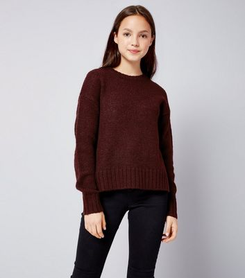 Teens Burgundy Crew Neck Knit Jumper New Look