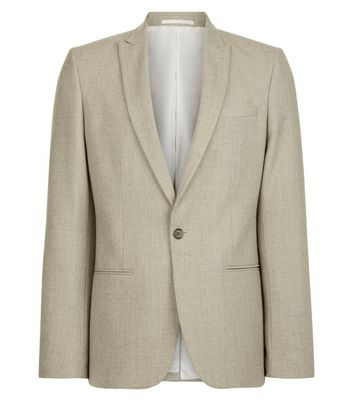 Stone Warm Handle Skinny Fit Blazer New Look