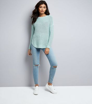 JDY Blue Dropped Shoulder Fine Knit Jumper New Look