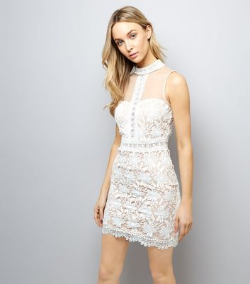 White Lace High Neck Bodycon Dress New Look