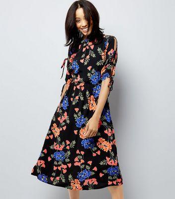 Black Tropical Floral Print Tie Sleeve Midi Dress New Look