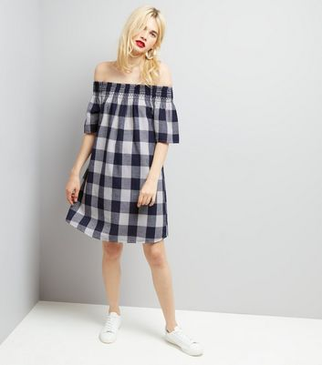 Blue Gingham Shirred Bardot Neck Dress New Look