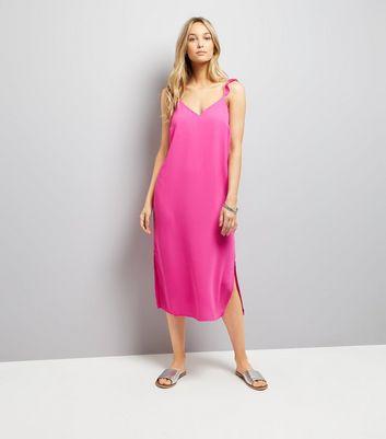 Pink Frill Trim Strap Slip Dress New Look