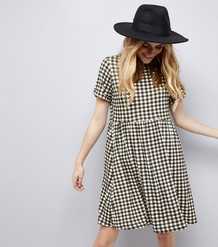 ae5faa45d23 Black Gingham Check Short Sleeve Smock Dress
