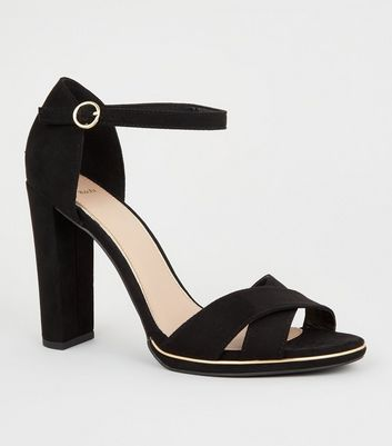 Wide Fit Black Suedette Slim Block Heels