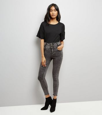 Dark Grey Acid Wash High Waist Skinny Yazmin Jeans New Look