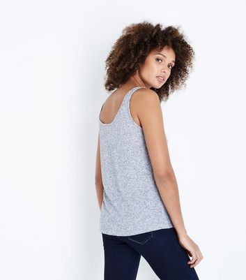 JDY Pale Grey Dream Slogan Vest Top New Look