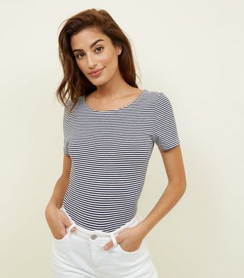 White Stripe Scoop Neck T-Shirt