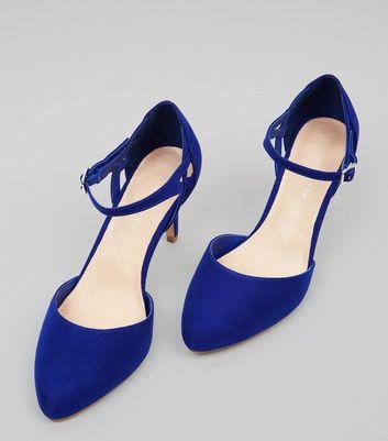 Wide Fit Comfort Blue Ankle Strap Heels