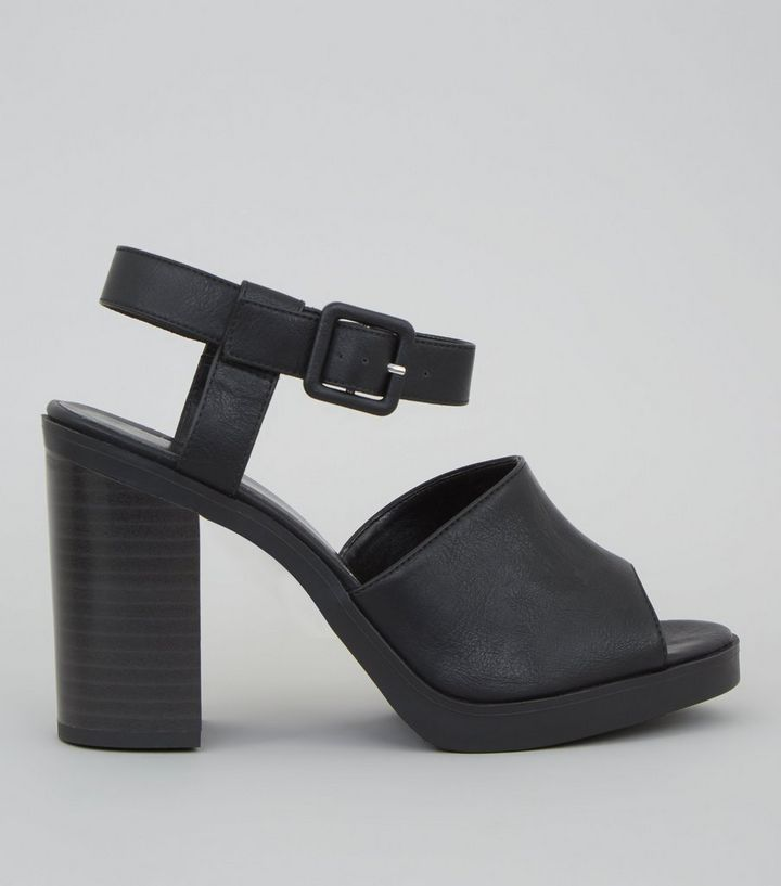 ea5f507b61a Black Chunky Ankle Strap Heels Add to Saved Items Remove from Saved Items