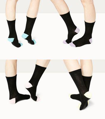 4 Pack Black Marl Trim Ankle Socks New Look