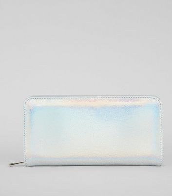Blue Iridescent Zip Around Purse New Look
