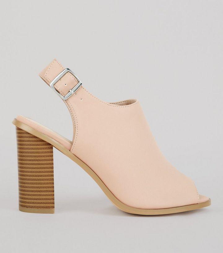 6cccb750c91 Wide Fit Nude Pink Suedette Peep Toe Heels
